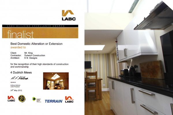 LABC Award - Finalist - Best Domestic Alteration or Extension - 2012