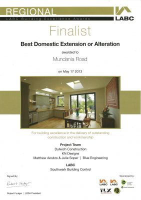LABC Award - Best Domestic Extension or Alteration - 2013