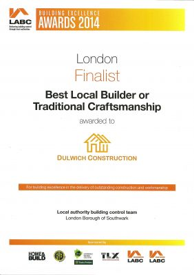 LABC Award - Finalist - Best Local Builder or Traditional Craftsmanship - 2014